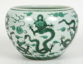 CHINESE GREEN GLAZED DRAGON PORCELAIN BOWL