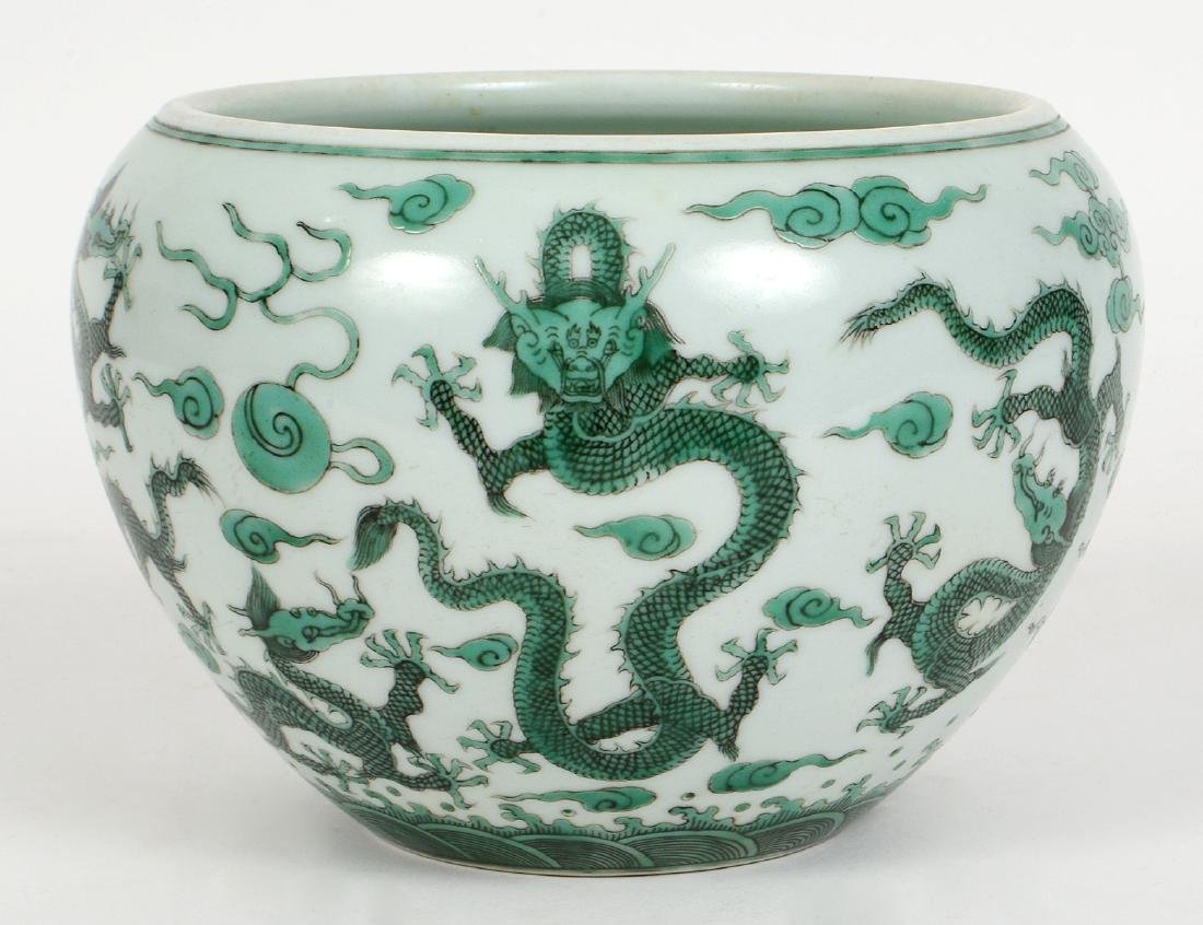 CHINESE GREEN GLAZED DRAGON PORCELAIN BOWL
