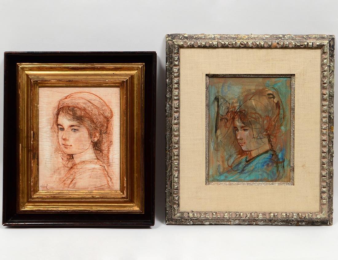 TWO WORKS OF ART BY EDNA (HIBEL) PLOTKIN