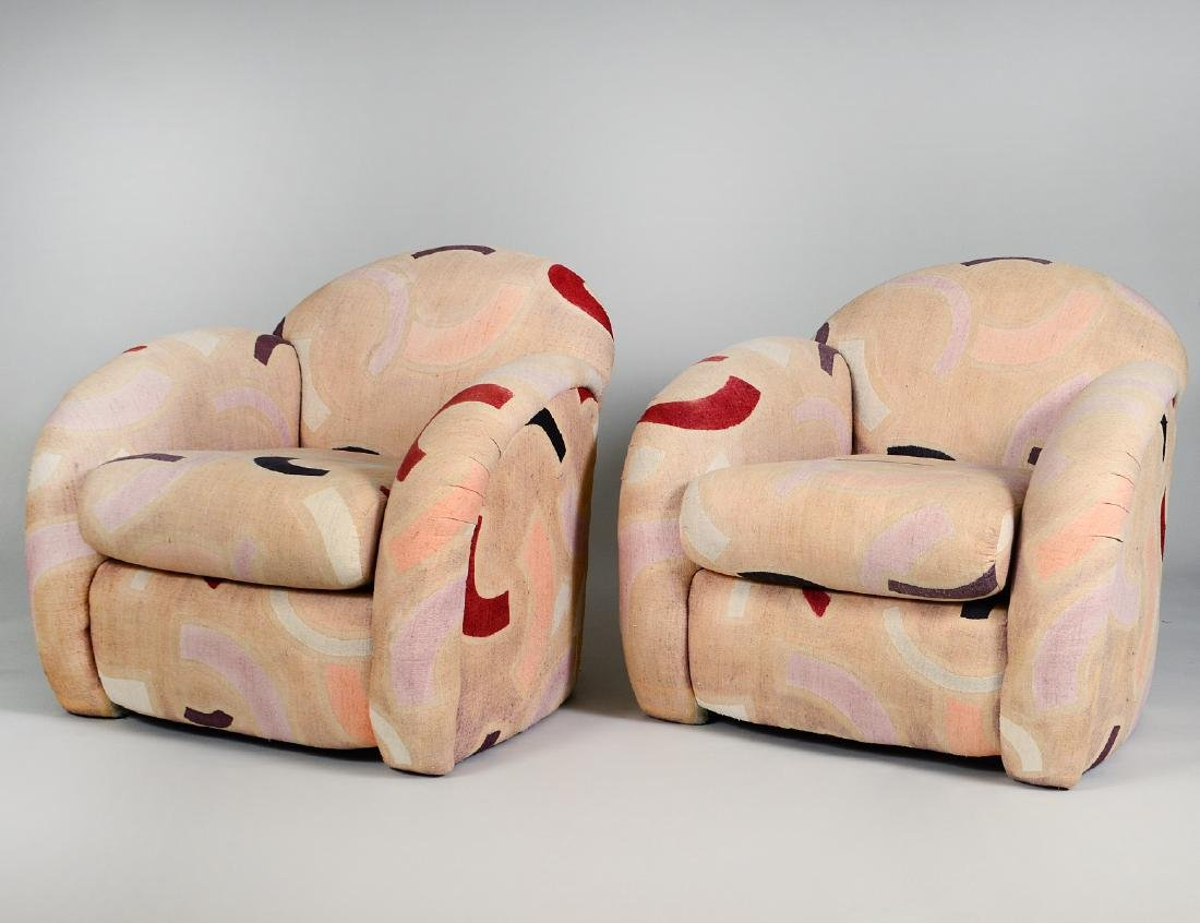 PAIR OF ART DECO STYLE UPHOLSTERED CLUB CHAIRS