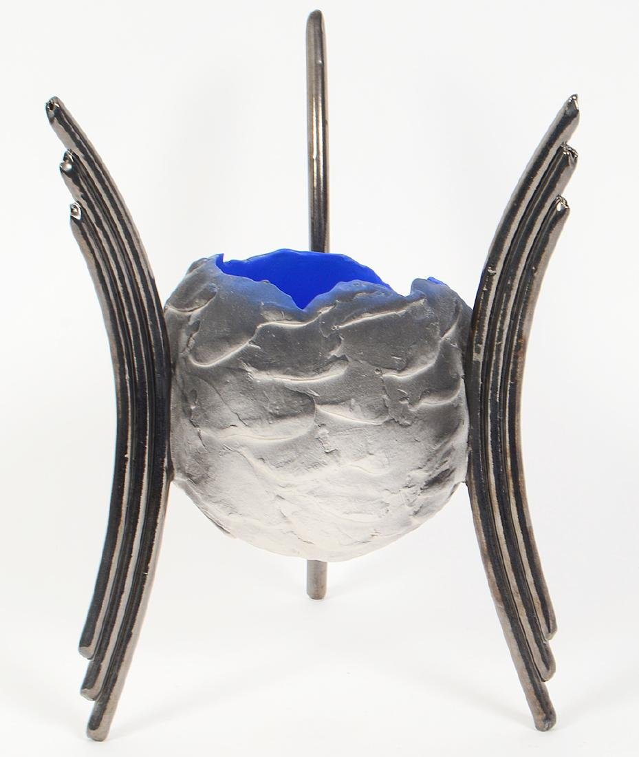 CONTEMPORARY ART GLASS 'MOON' BOWL ON STAND - 4