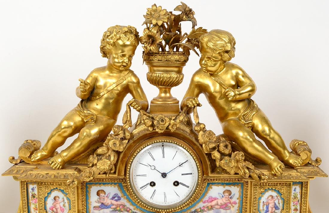 FRENCH ROCOCO STYLE THREE PIECE ORMOLU CLOCK GARNITURE - 2