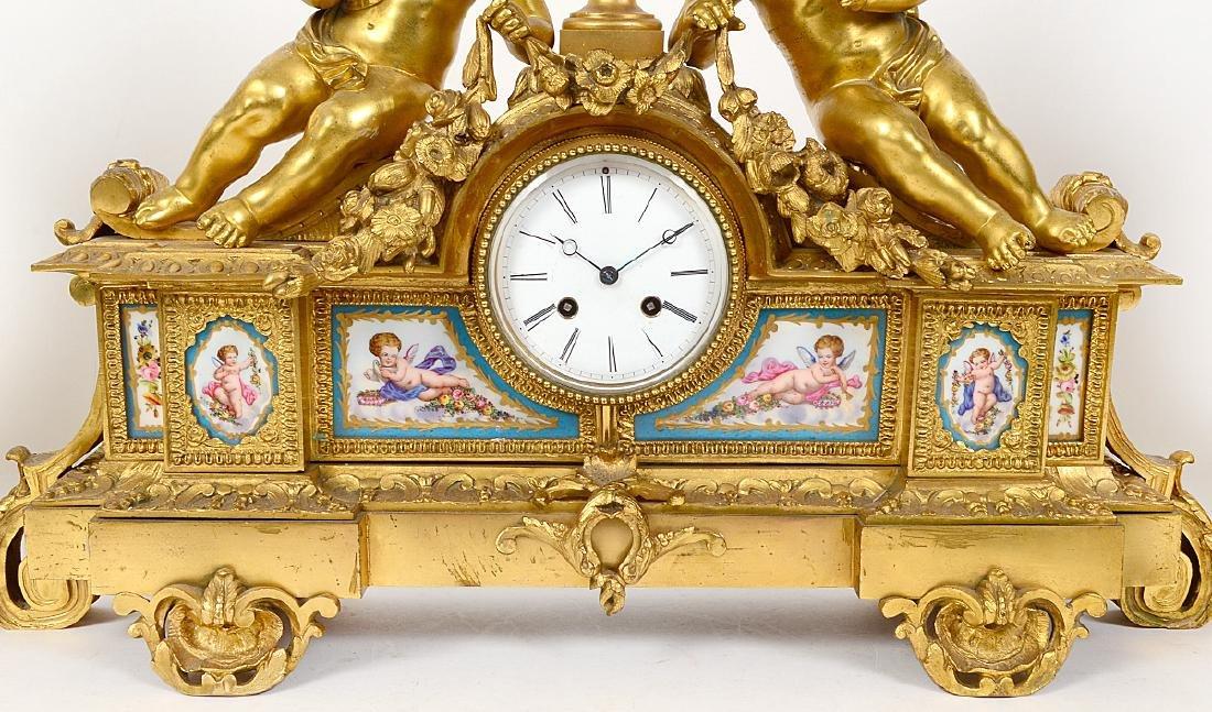 FRENCH ROCOCO STYLE THREE PIECE ORMOLU CLOCK GARNITURE - 5