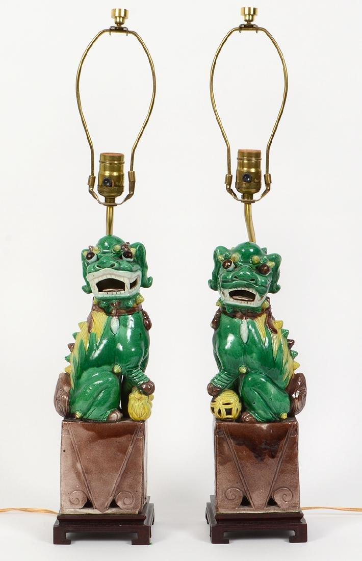 PAIR OF CHINESE SANCI GLAZED PORCELAIN FU-DOG LAMPS - 2