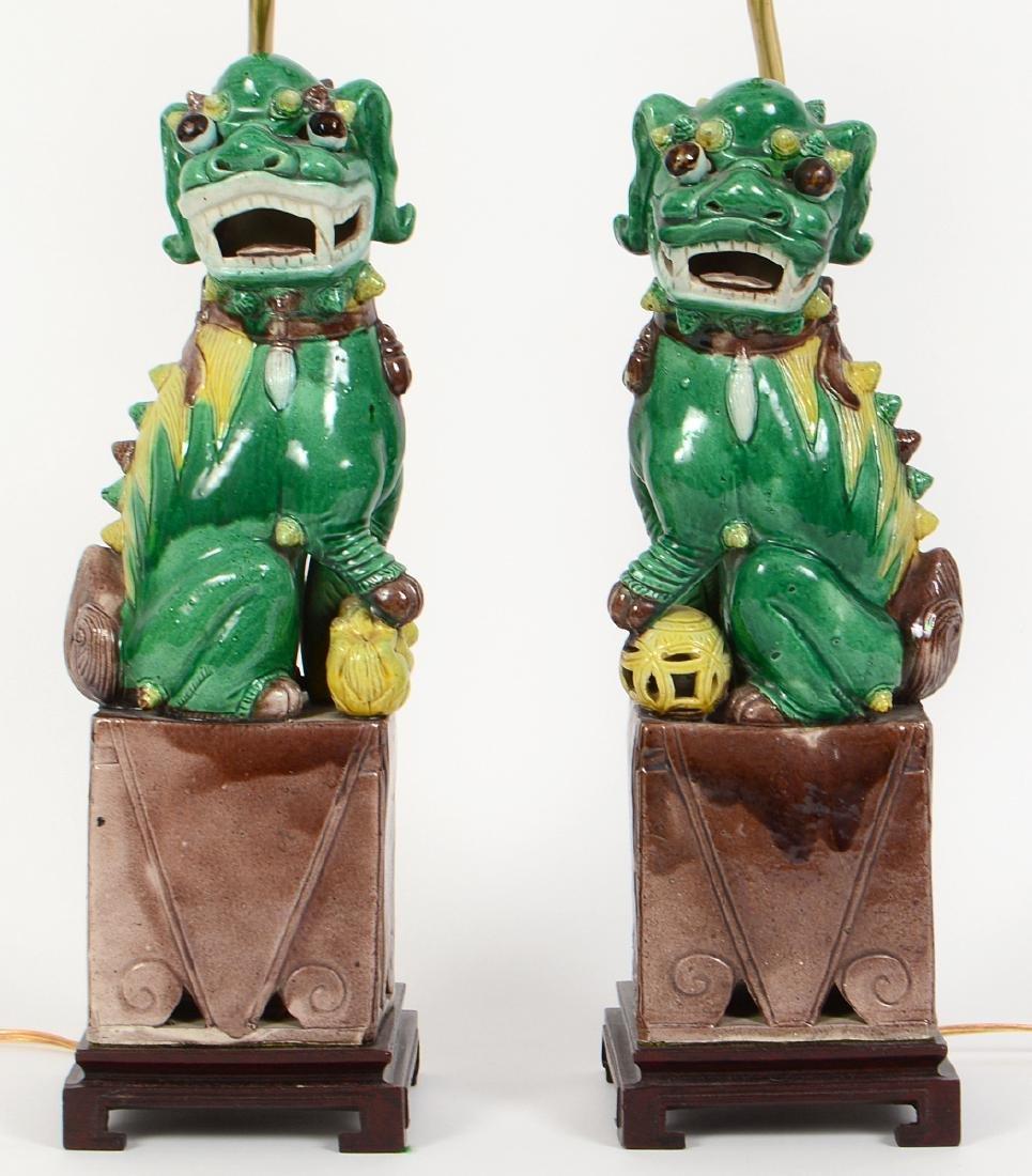 PAIR OF CHINESE SANCI GLAZED PORCELAIN FU-DOG LAMPS - 3