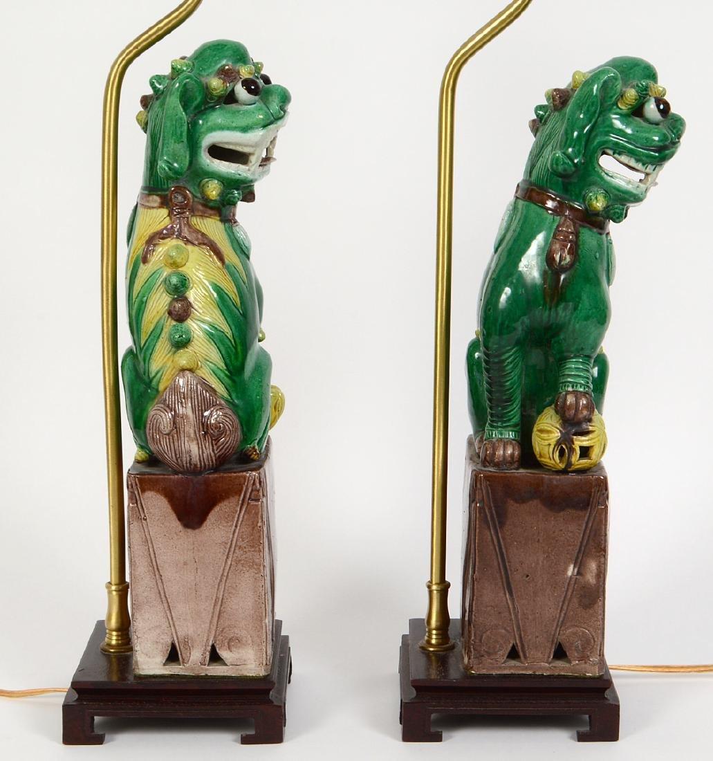PAIR OF CHINESE SANCI GLAZED PORCELAIN FU-DOG LAMPS - 4