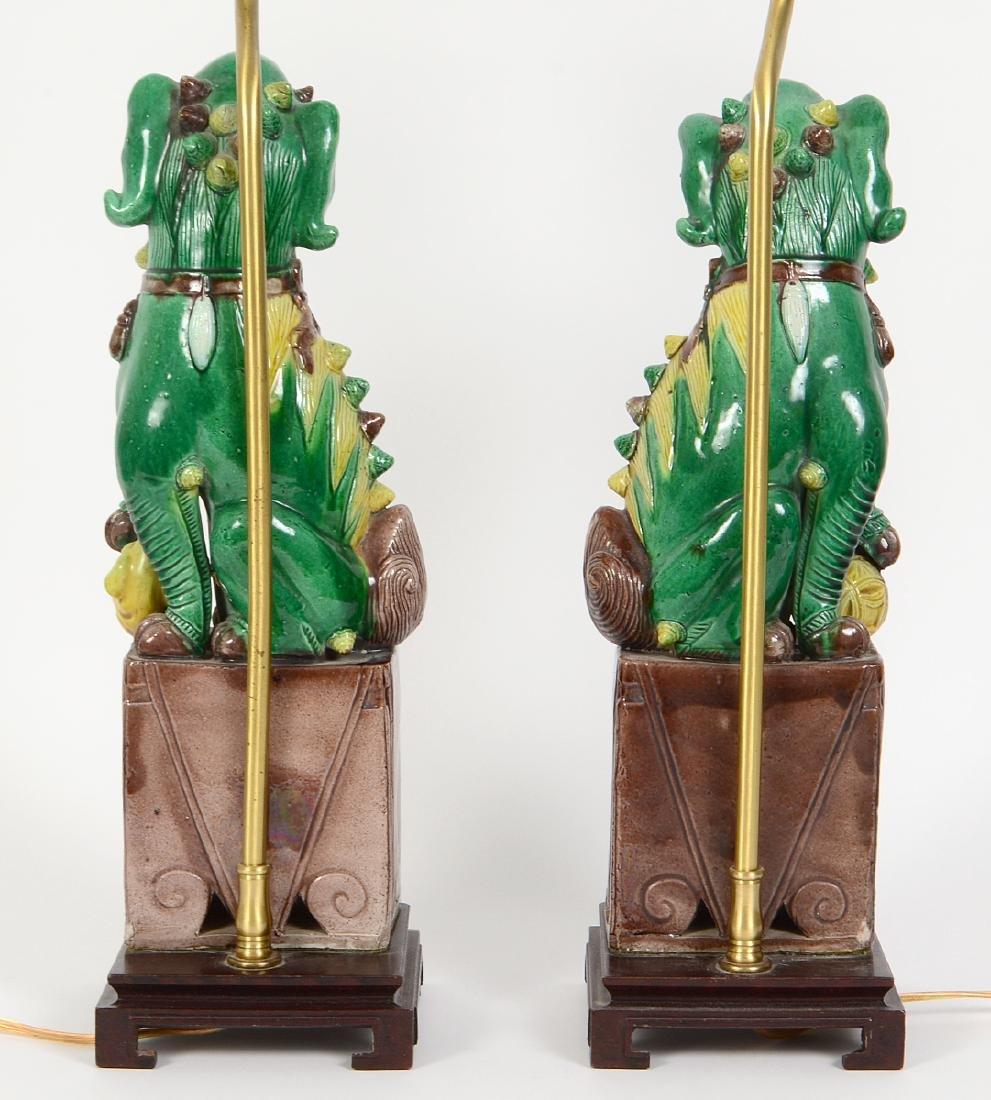 PAIR OF CHINESE SANCI GLAZED PORCELAIN FU-DOG LAMPS - 5