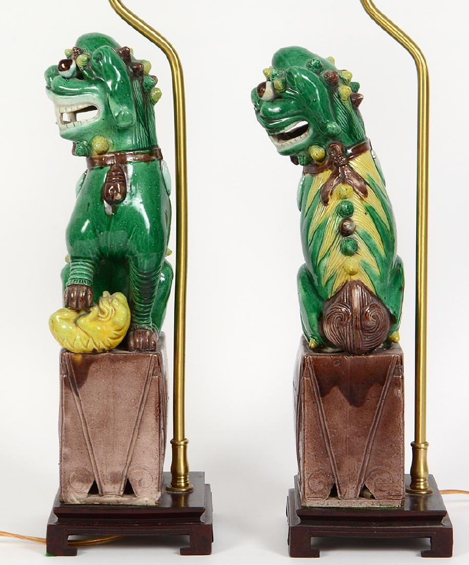PAIR OF CHINESE SANCI GLAZED PORCELAIN FU-DOG LAMPS - 6