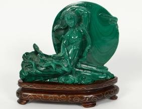 CHINESE CARVED MALACHITE OF A FLOATING DEITY
