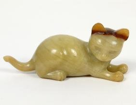CHINESE PALE GREEN AND RUSSET JADE CAT