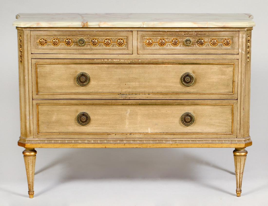 LOUIS XVI STYLE ONYX TOP PAINTED COMMODE