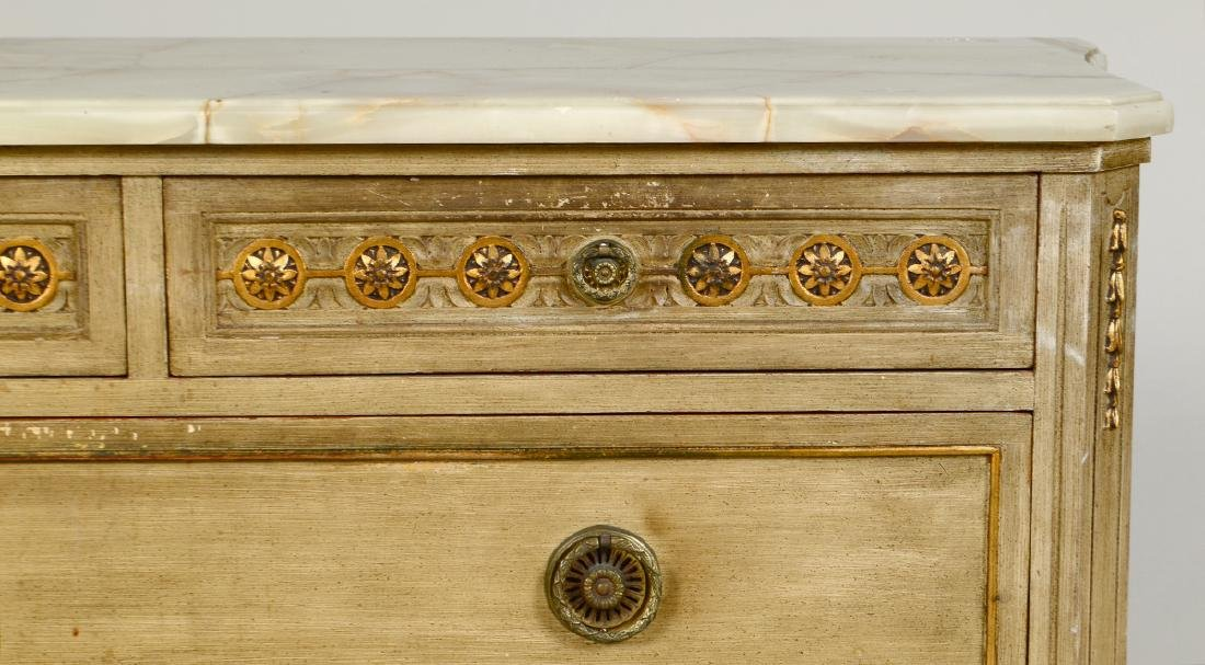 LOUIS XVI STYLE ONYX TOP PAINTED COMMODE - 2