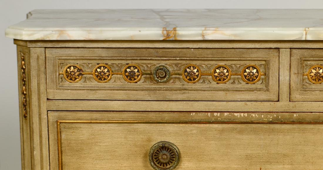 LOUIS XVI STYLE ONYX TOP PAINTED COMMODE - 3
