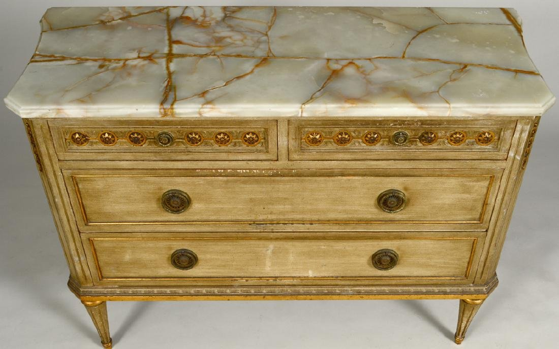 LOUIS XVI STYLE ONYX TOP PAINTED COMMODE - 4