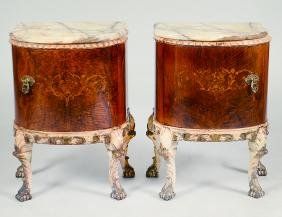 PAIR OF ROCOCO STYLE ONYX TOP WALNUT SIDE CABINETS