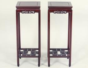 PAIR OF CHINESE HONG-MU PEDESTAL STANDS