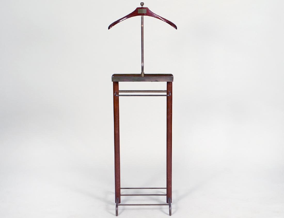 GENTLEMAN'S MAHOGANY AND BRASS VALET STAND