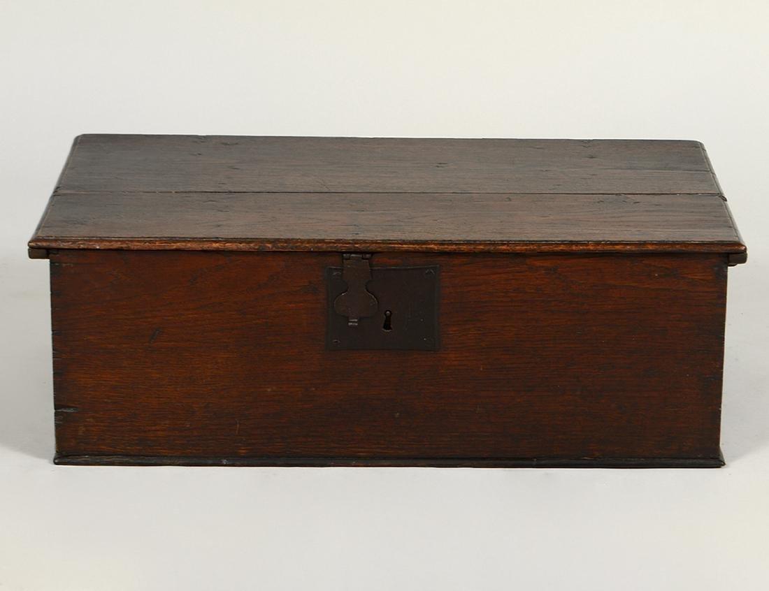ENGLISH IRON-MOUNTED OAK DOCUMENT BOX