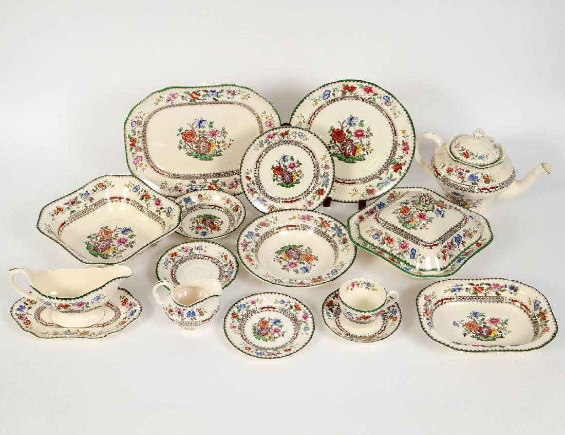 ENGLISH FIFTY-EIGHT PIECE EARTHENWARE PART DINNER