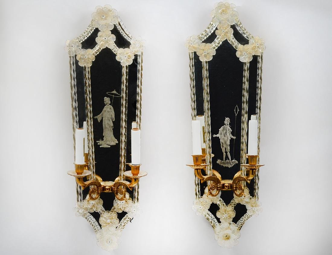 PAIR OF ITALIAN TWO-LIGHT GIRANDOLE MIRRORS