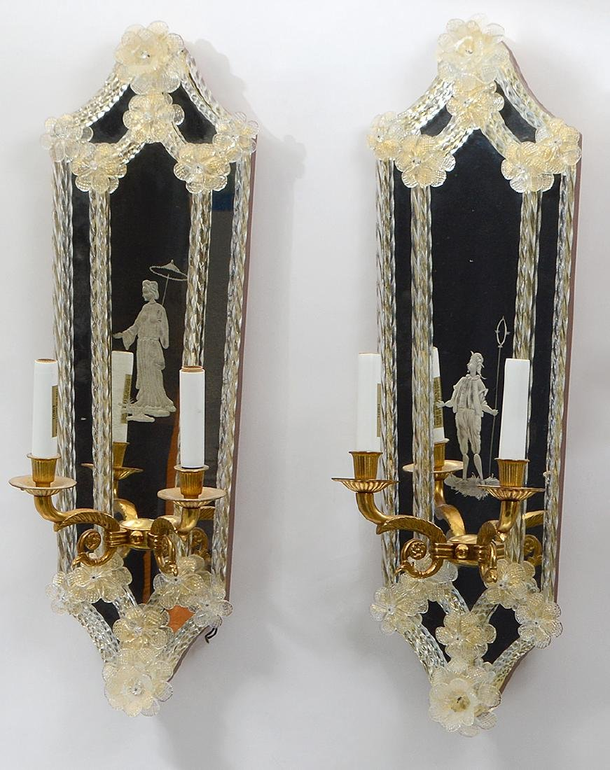 PAIR OF ITALIAN TWO-LIGHT GIRANDOLE MIRRORS - 2
