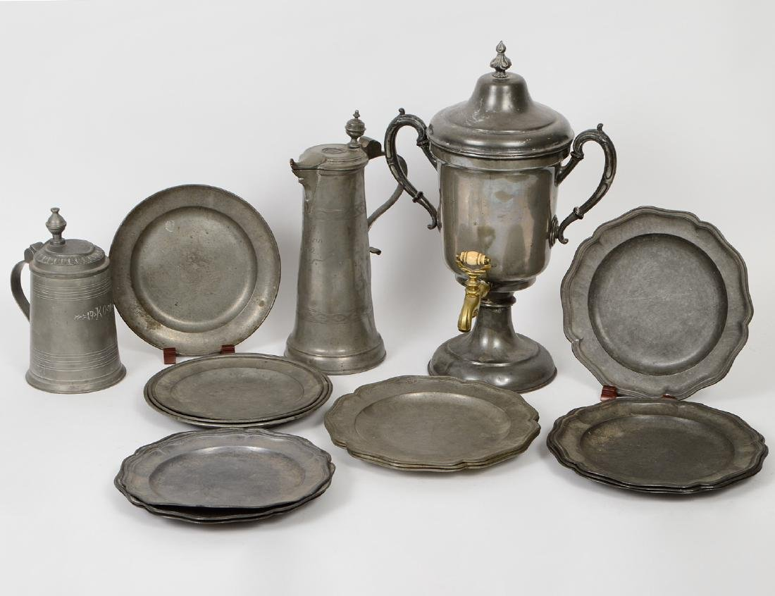 SEVENTEEN CONTINENTAL PEWTER TABLE WARES