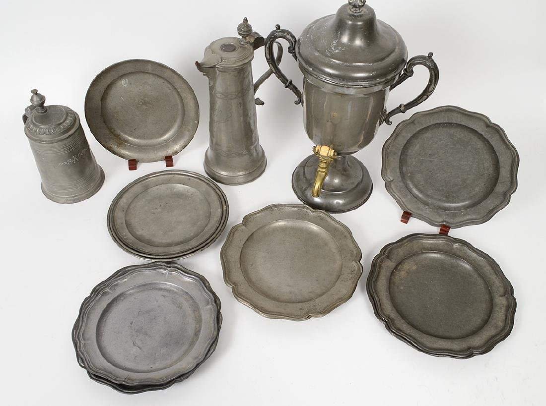SEVENTEEN CONTINENTAL PEWTER TABLE WARES - 4