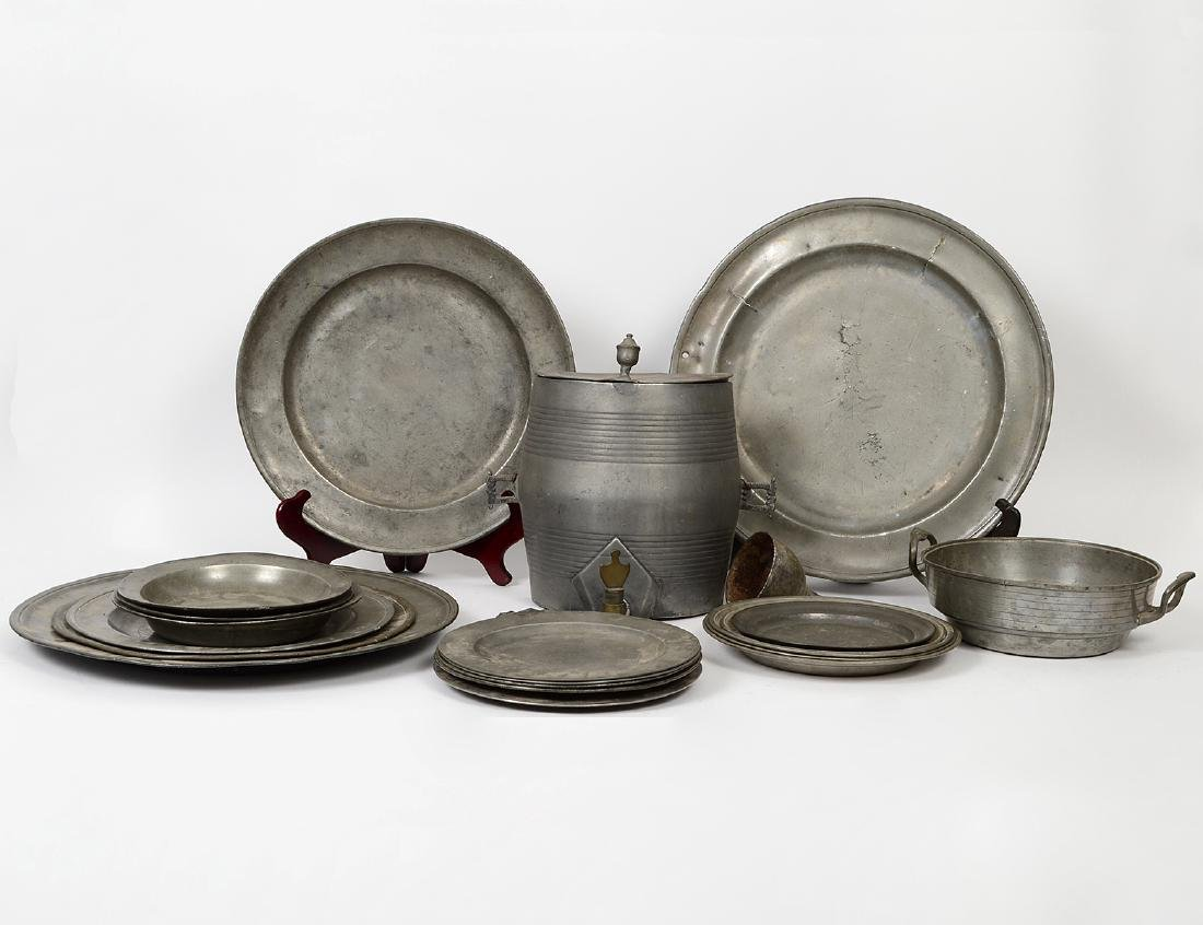 SIXTEEN GERMAN PEWTER CHARGERS, DISHES & BASIN