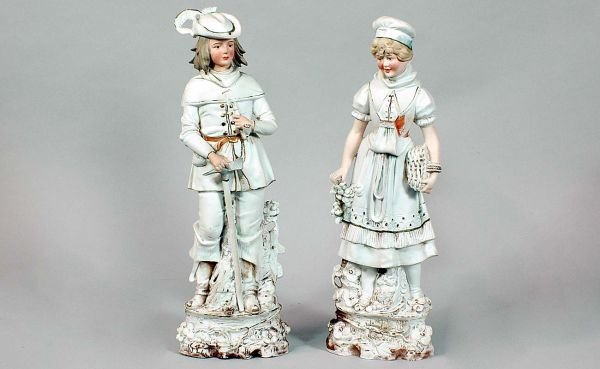 8: Antique Bisque Man and Woman Painted Figures