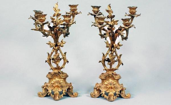11: Pr Rococo Style Gilt Bronze Four Armed Candelabra