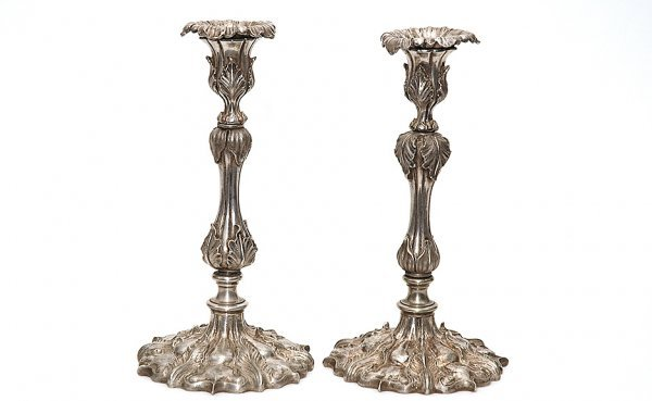 12: Pair Ornate Silverplate Rococo Floral Candlesticks