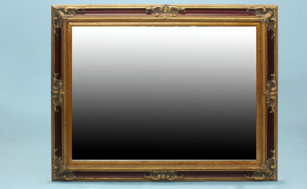 18: Contemporary Gold Framed Mirror Beveled Glass