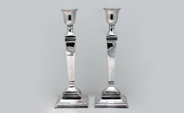 22: Silver plated Columnar Weighted Candlesticks