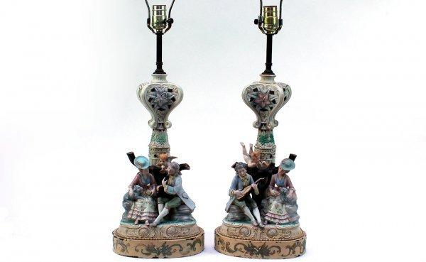 23: Figural Porcelain Lamps Depicting a Couple