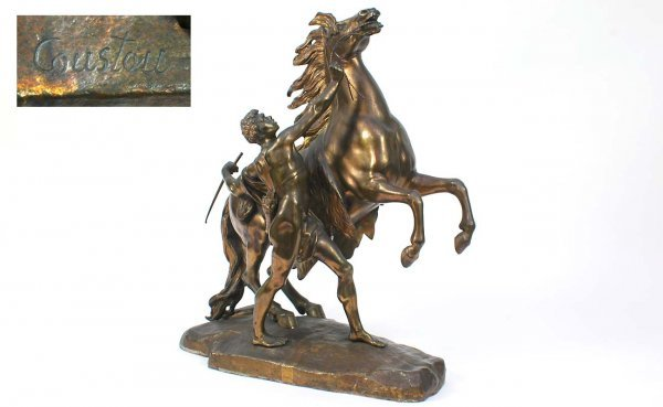 24: Coustou Marly Horse Bronze  with Man At Side