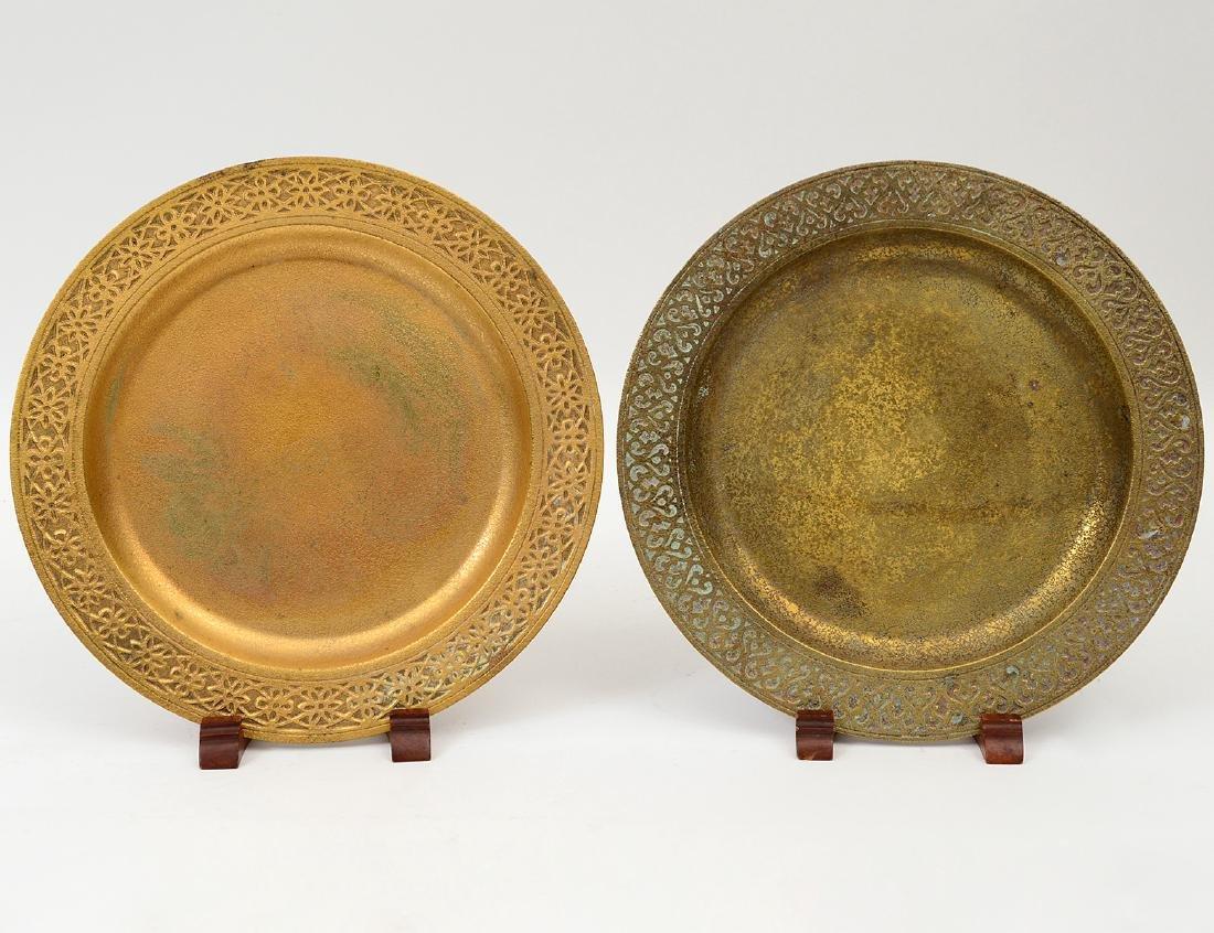 TWO TIFFANY GILT BRONZE PLATES