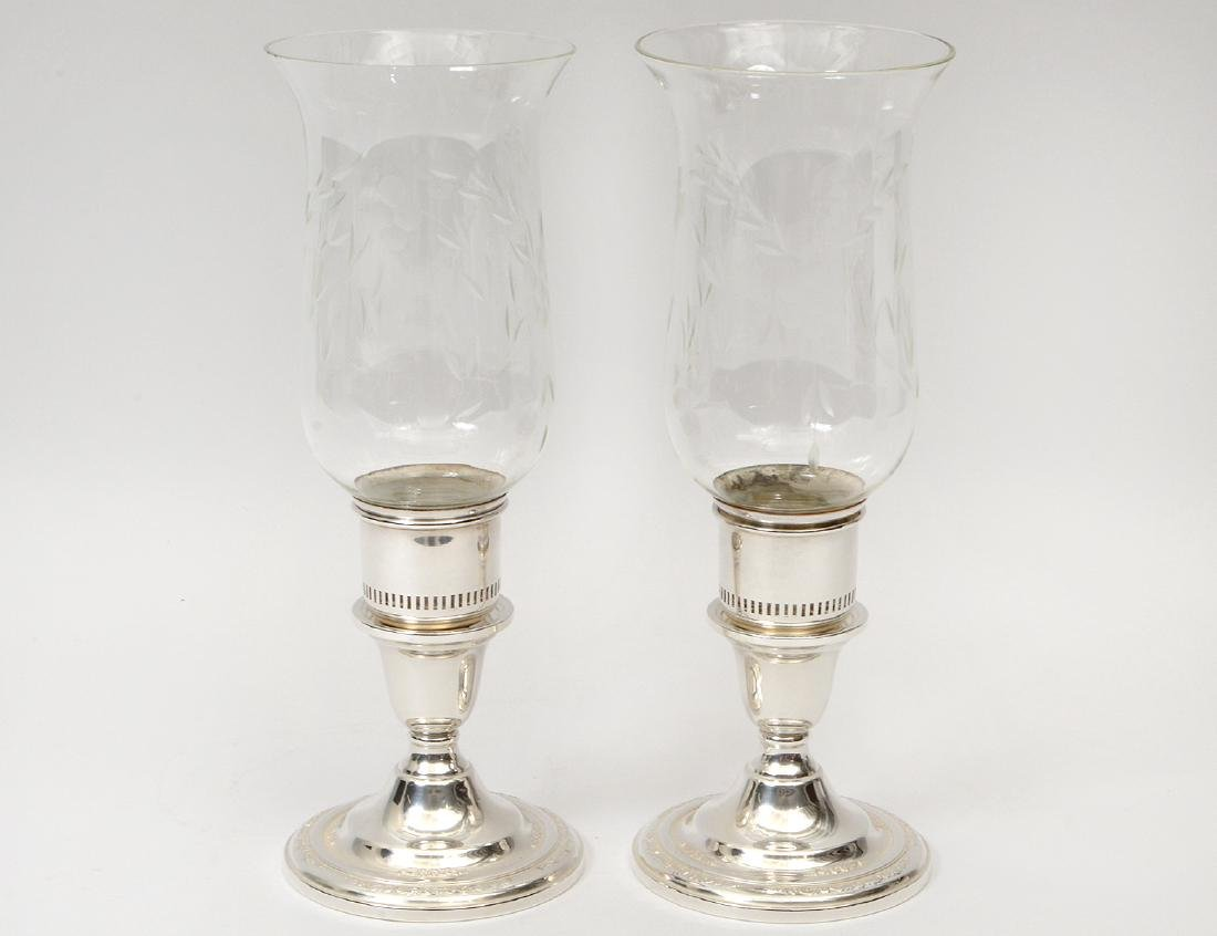 PAIR OF AMERICAN STERLING SILVER AND GLASS CANDLESTICKS