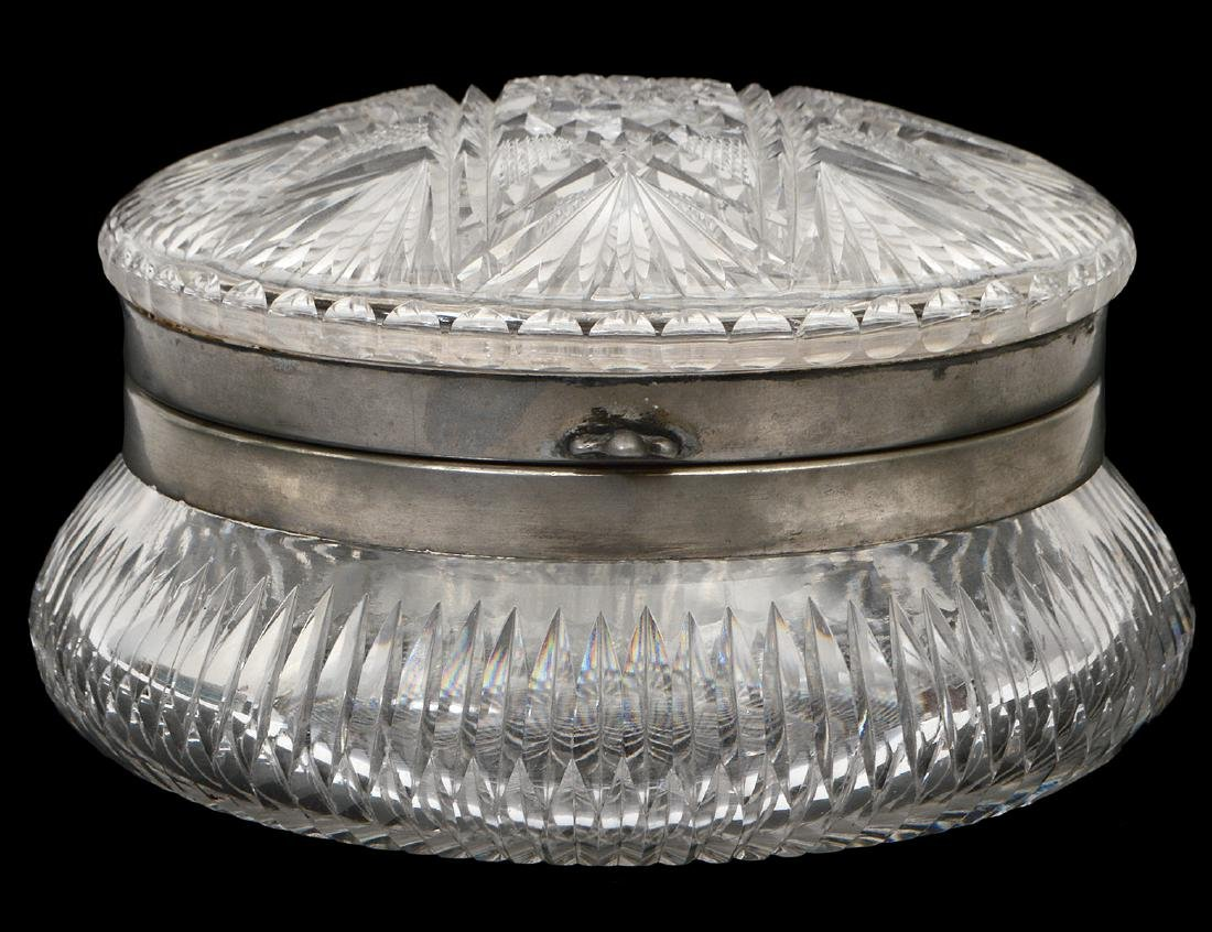 AMERICAN SILVER PLATE MOUNTED CUT GLASS COVERED JAR