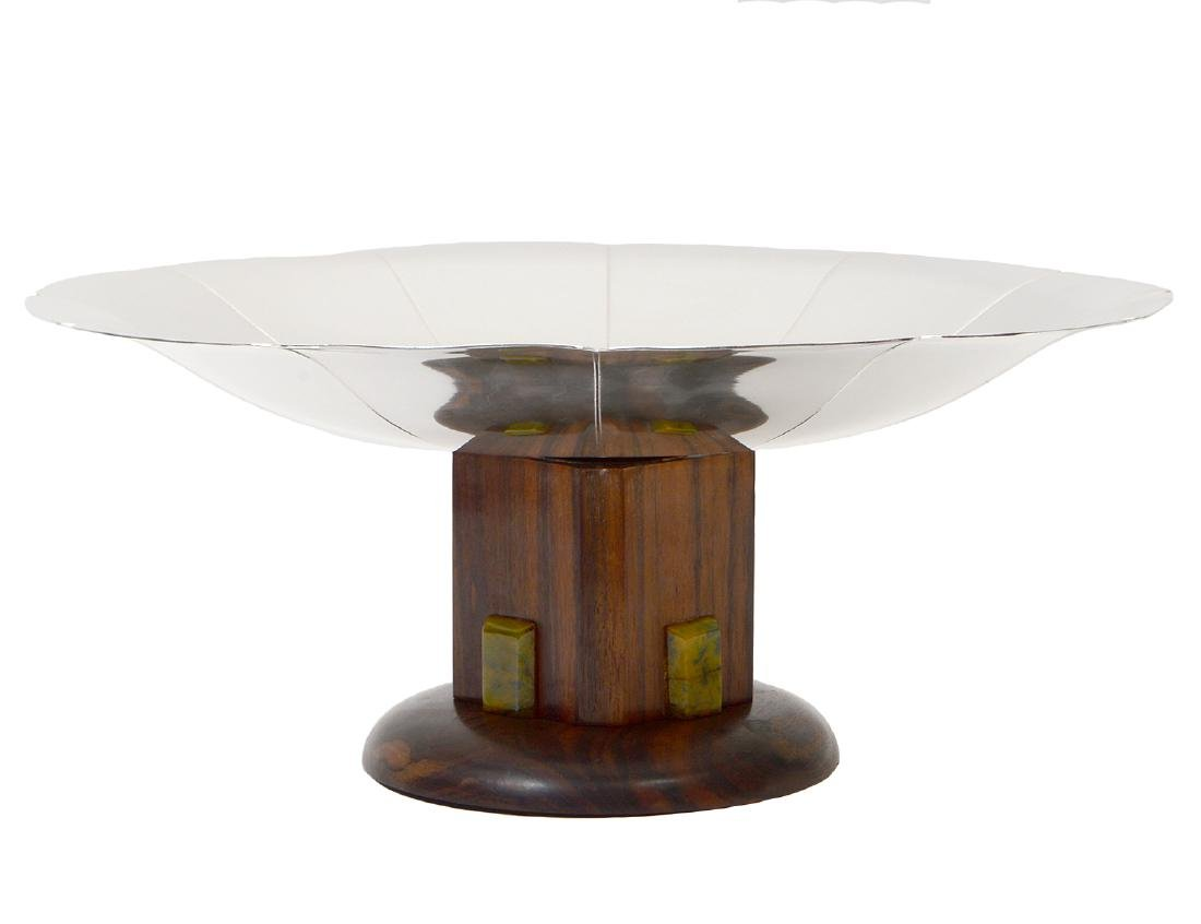 SECCESSIONIST STYLE SILVERED METAL & ROSEWOOD TAZZA