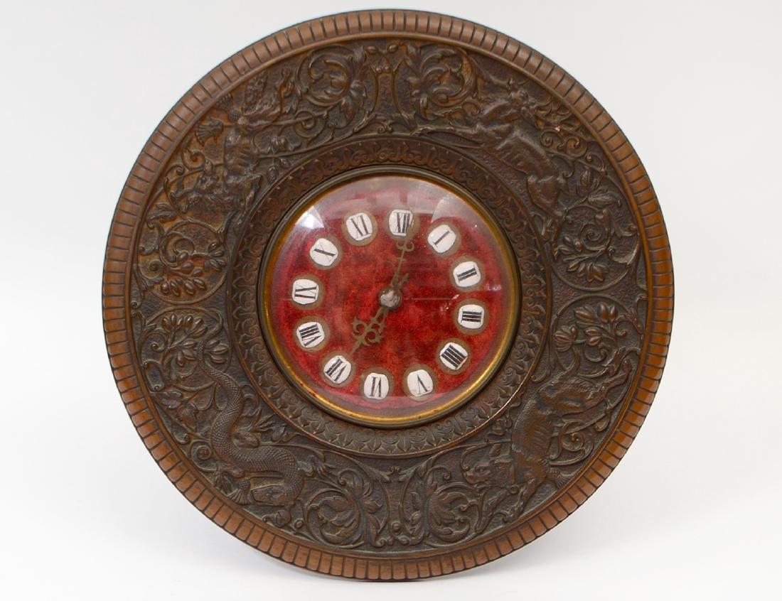 CONTINENTAL PATINATED METAL CIRCULAR TABLE CLOCK