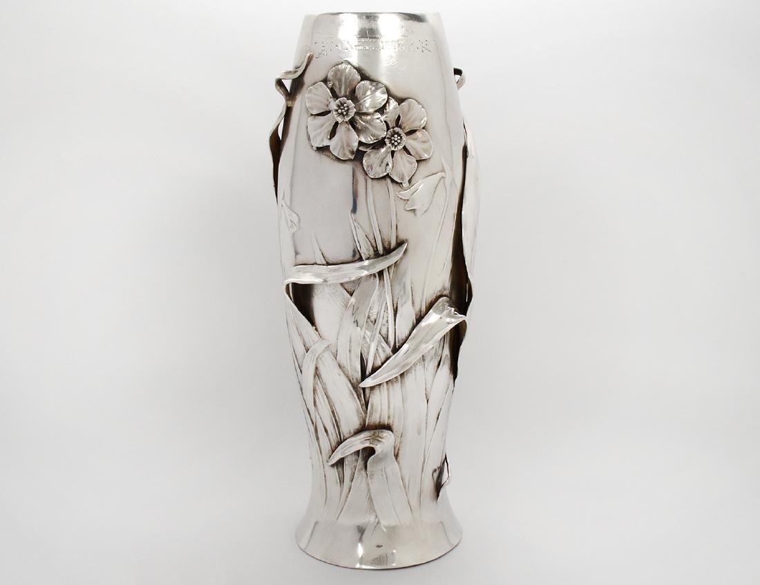 FINE ART NOUVEAU SILVERED METAL FLOWER VASE