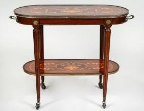 MARQUETRY TWO-TIER WALNUT SERVING TABLE