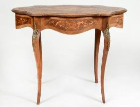 LOUIS XV STYLE MARQUETRY CENTER TABLE