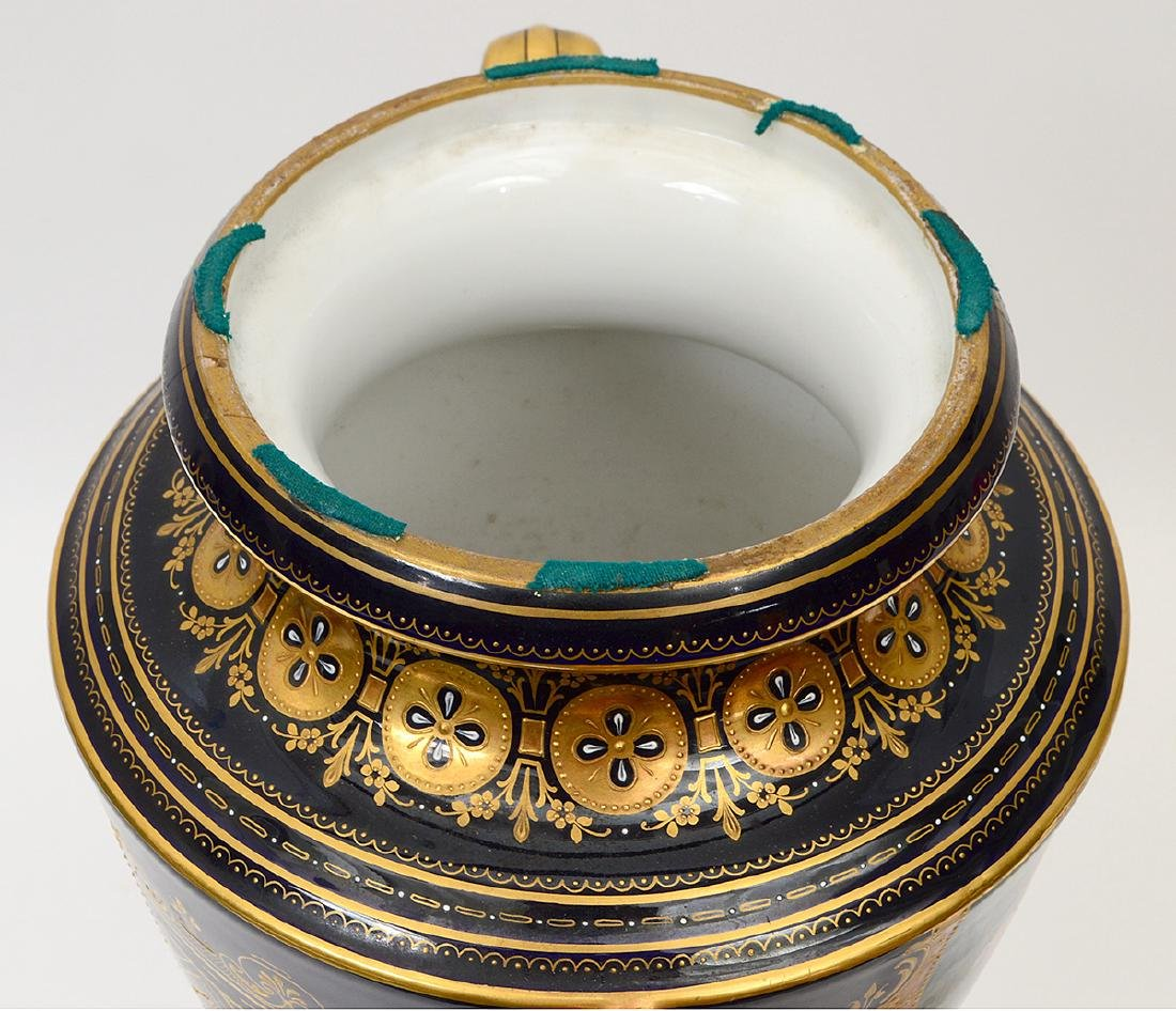 VIENNA PAINTED AND GILT PORCELAIN COBALT GROUND COVERED - 13