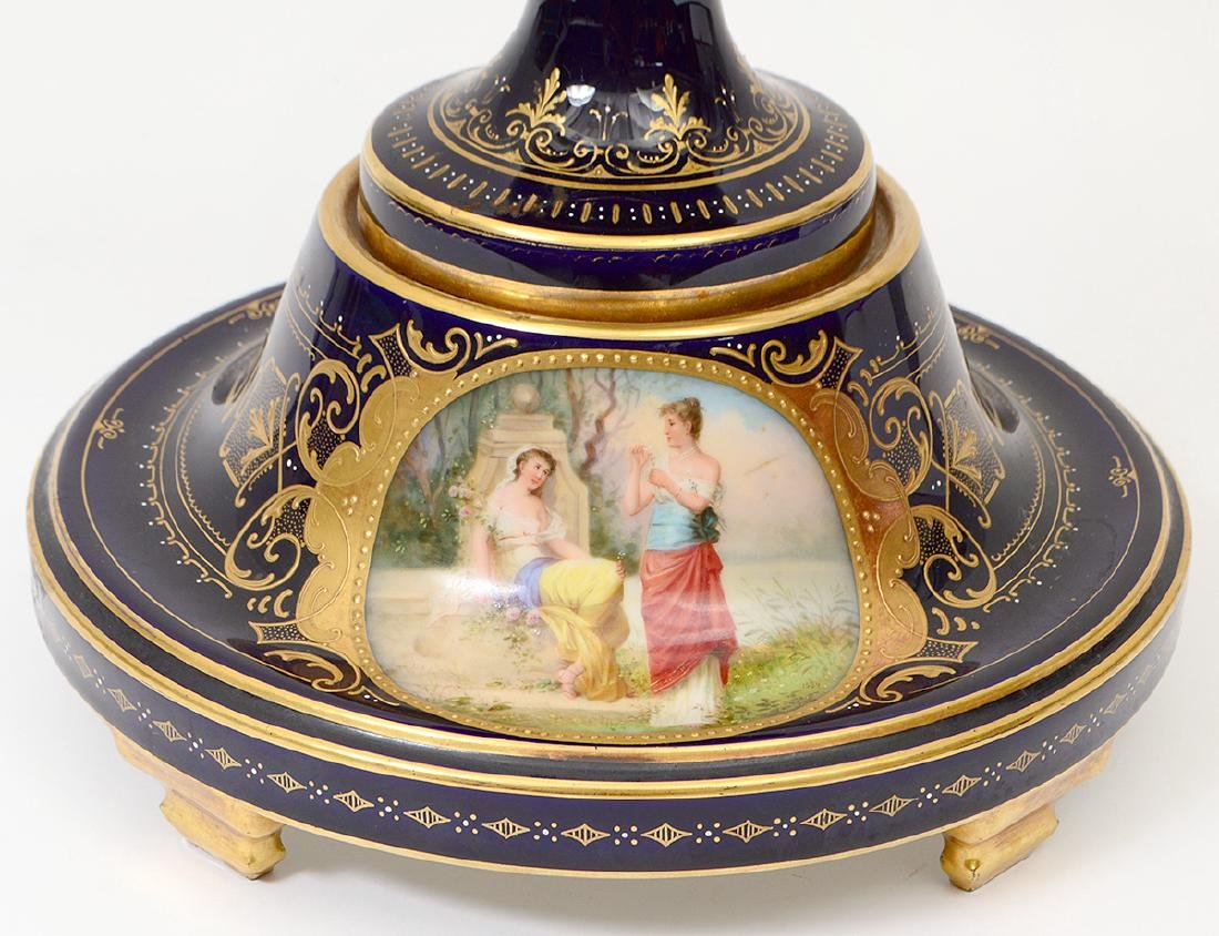 VIENNA PAINTED AND GILT PORCELAIN COBALT GROUND COVERED - 3