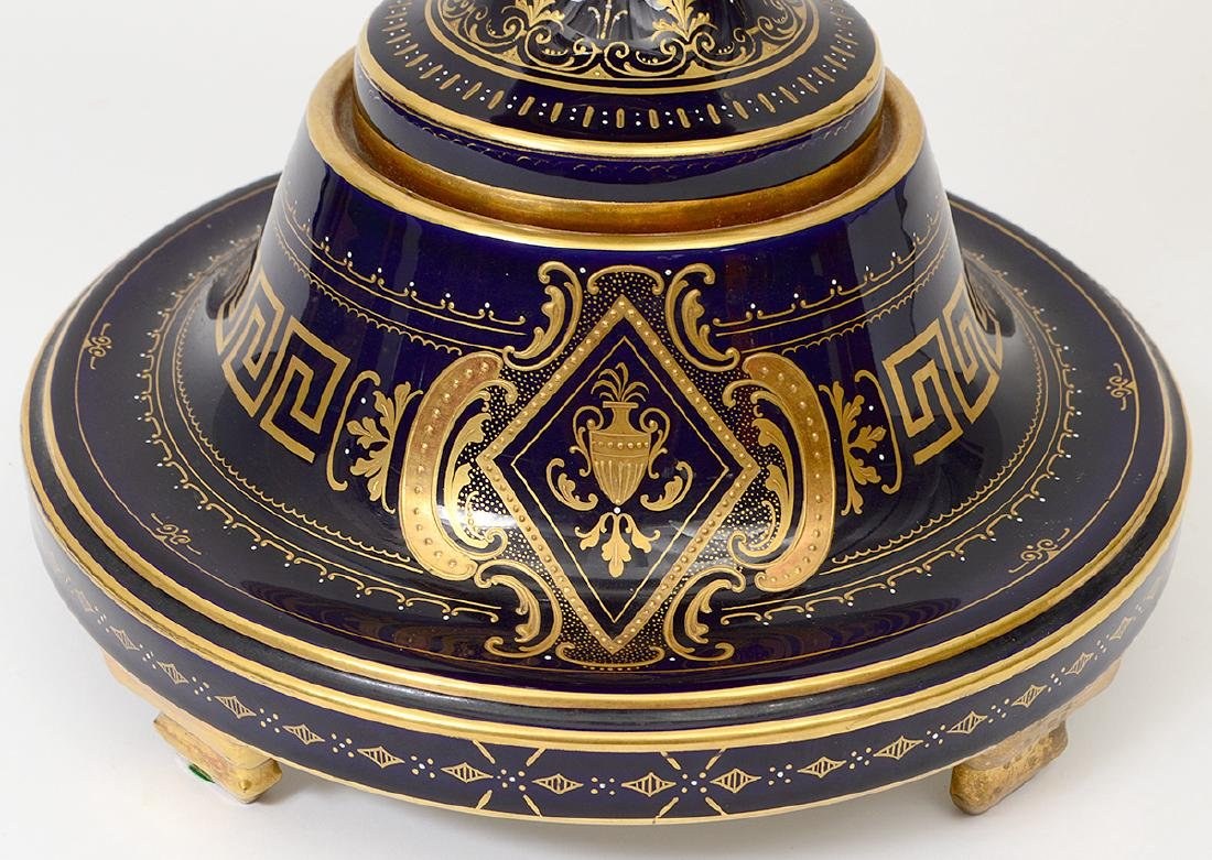VIENNA PAINTED AND GILT PORCELAIN COBALT GROUND COVERED - 9