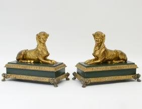 PAIR OF EMPIRE STYLE GILT BRONZE SPHINXES