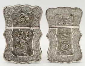 ASSEMBLED PAIR OF CHINESE FILAGREE SILVER CARD CASES