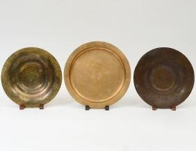 TWO TIFFANY BRONZE BOWLS AND A GILT BRONZE PLATE