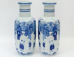 FINE PAIR QING BLUE AND WHITE ROULOU VASES